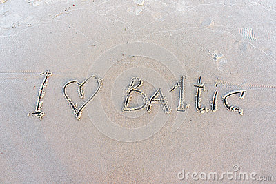 I love Baltic. Inscription on white sand.