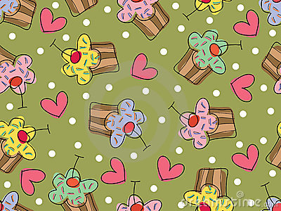 I love cupcakes - seamless pattern