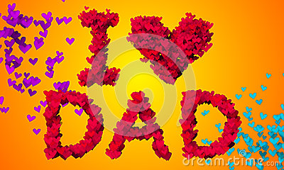 I love Dad Particles Heart Shape 3D orange background