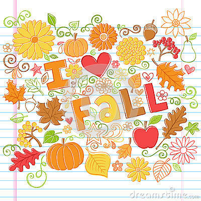 I Love Fall back to School Autumn Doodles