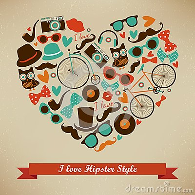 Free I Love Hipster Style Icon Set Stock Photography - 35407322