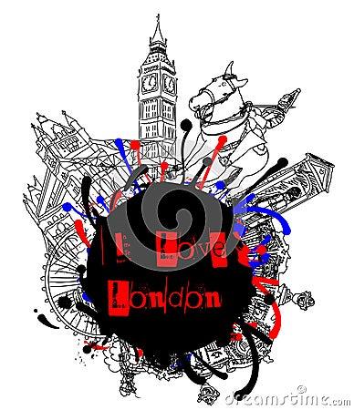 I Love London Grunge