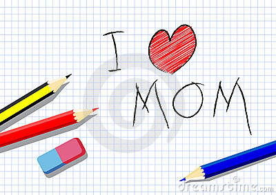 I love mom, drawing by a child