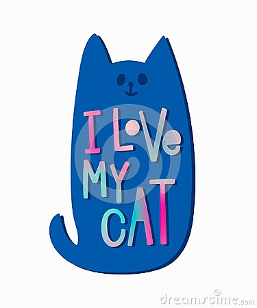 Free I Love My Cat Shirt Quote Lettering. Stock Photos - 106096933