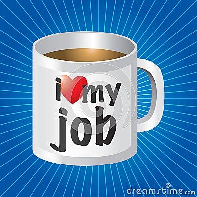 Free I Love My Job Coffee Mug On Blue Starburst Stock Image - 11388971