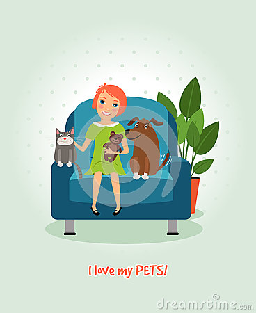 Free I Love My Pets. Girl On Armchair With Dog And Cat Stock Image - 52733731