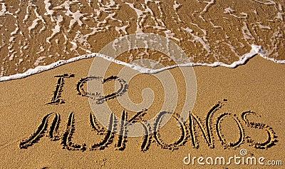 I love Mykonos - the inscription on the sand