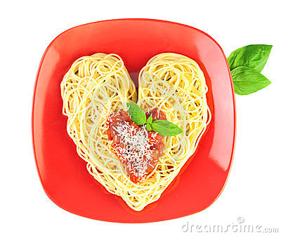 I love Pasta / Spaghetti  / Heart Shape