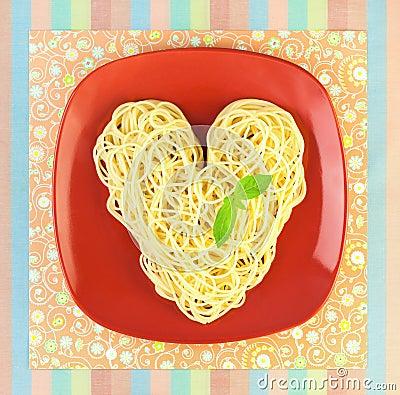 Free I Love Pasta / Spaghetti  / Heart Shape Royalty Free Stock Images - 24254859