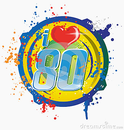 I Love 80s Music Symbol Stock Vector