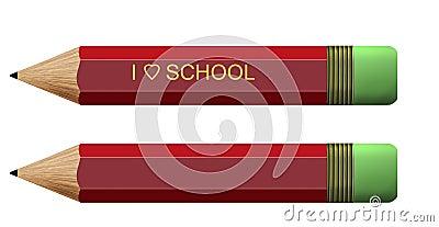 I love school pencils, white background