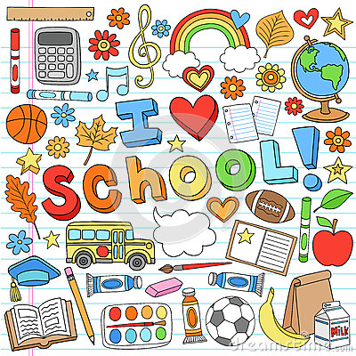I Love School Supplies Vector Design Elements