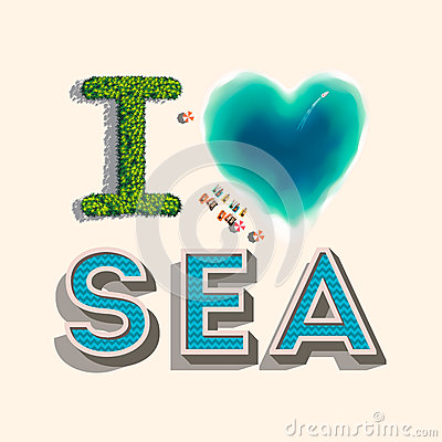 I love sea,  illustration.
