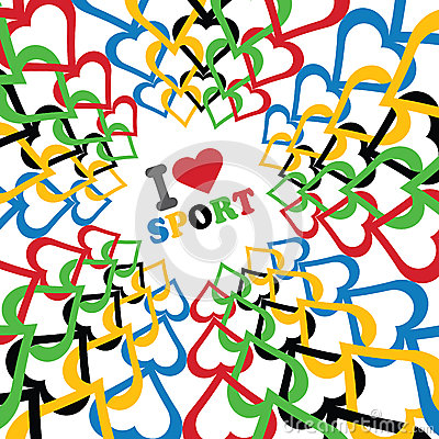 I love sport and Ornament of in Olympic colors