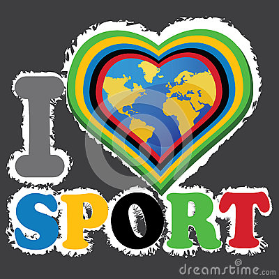 I love sports and the Earth in heartform. Vector