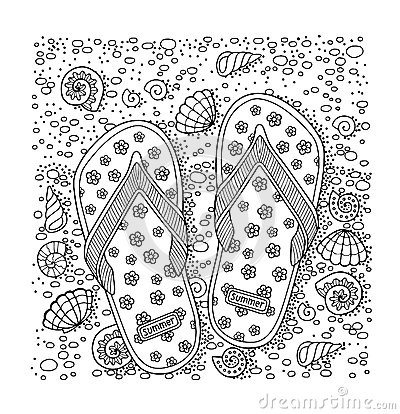 Free I Love Summer. Sea Beach. Slippers, Sand And Shell. Hand Drawn Flip-flop Sandal Stock Photos - 85330403