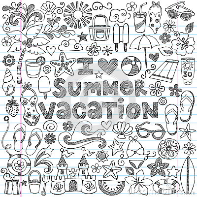 Free I Love Summer Vacation Tropical Doodle Vector Stock Photo - 33482480