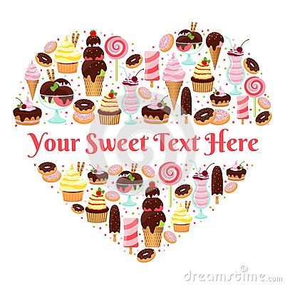 Free I Love Sweets Heart Shaped Vector Design Royalty Free Stock Photos - 42943868