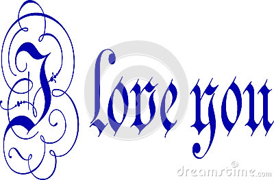 ... Love You written in blue pen and ink calligraphy with flourishes