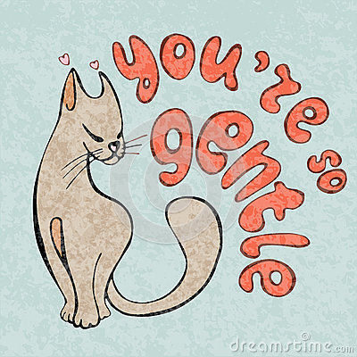 I love you card, greetings with cute animals, cartooning cat Stock Photo
