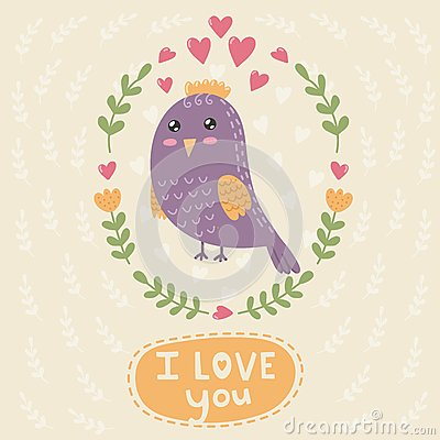 Free I Love You Card With A Cute Bird Stock Photography - 70314302
