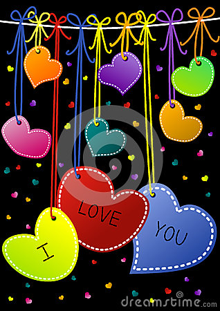 I Love You Hanging Hearts Valentines Day Cards