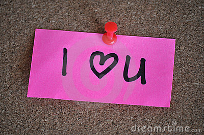 I Love You Heart Note on Pinboard
