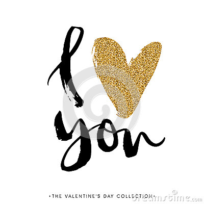 Free I Love You. I Heart You. Valentines Day Calligraphy Glitter Card Royalty Free Stock Photos - 66453778
