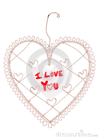 I love you message on a heart note board