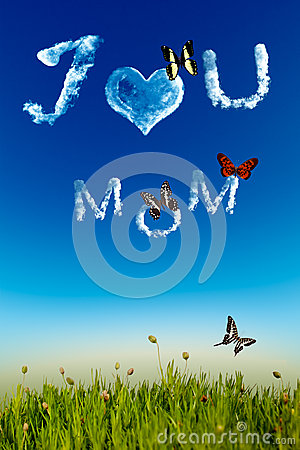 I love you Mom greeting card with cloud letters