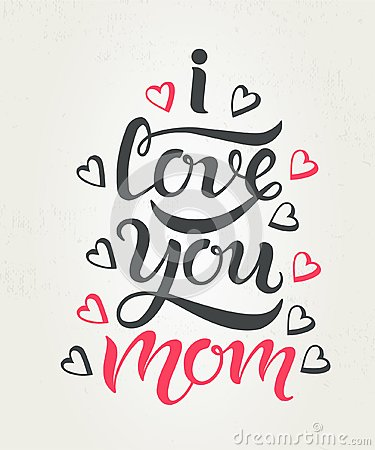Free I Love You Mom Greeting Card Textured Stock Images - 112230394