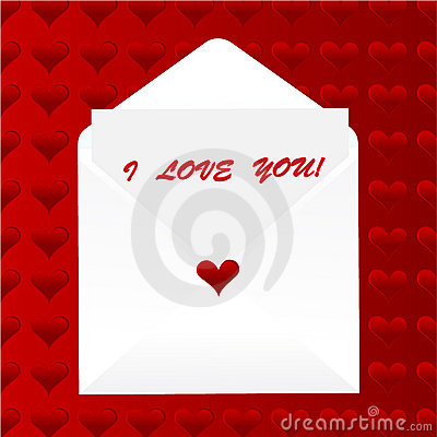 I love you note, heart background