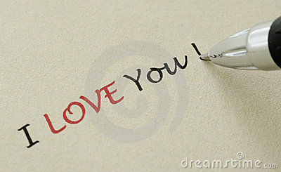 I love you note - Writing on a yellow paper