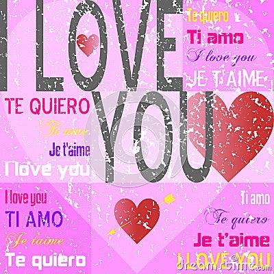 I Love You [Pink Grunge]
