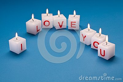 I love you printed on candles.
