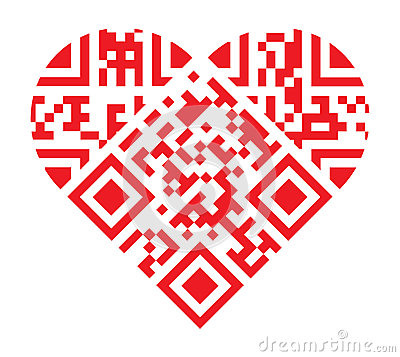 I Love You Qr Code Red Heart Shape Stock Photo Image