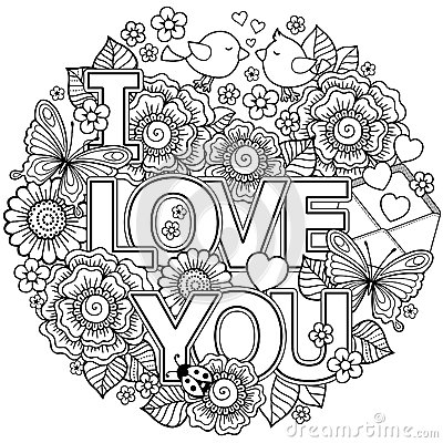 Free I Love You. Rounder Frame Made Of Flowers, Butterflies, Birds Kissing And The Word Love. Royalty Free Stock Images - 84898339