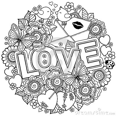 Free I Love You. Rounder Frame Made Of Flowers, Butterflies, Birds Kissing And The Word Love. Stock Photo - 84907960