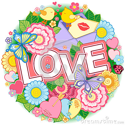 Free I Love You. Rounder Frame Made Of Flowers, Butterflies, Birds Kissing And The Word Love. Stock Photos - 84907973