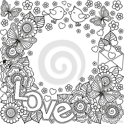 Free I Love You. Rounder Frame Made Of Flowers, Butterflies, Birds Kissing And The Word Love. Stock Photo - 84919280