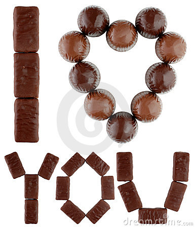 I love you text made of chocolates