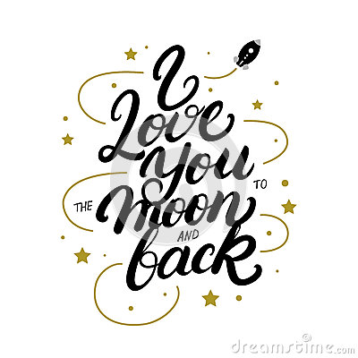 Free I Love You To The Moon And Back Hand Written Lettering Poster. Royalty Free Stock Photography - 85257227