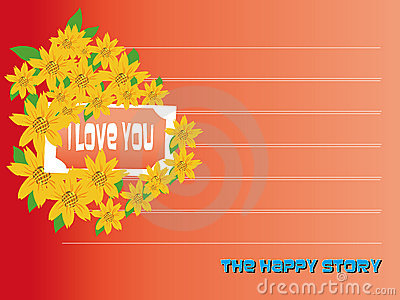 I love you Valentines day card with flowers