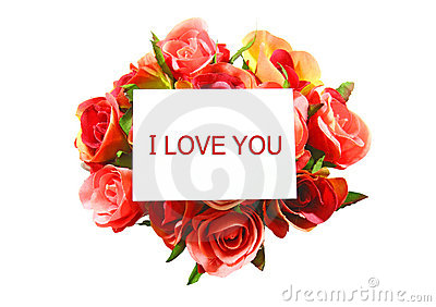 I love you on white card and rose isolated