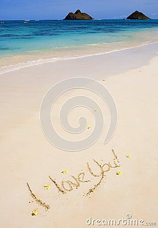 I love you  written on a sandy beach