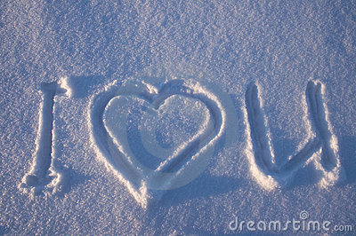 I love you written on a snow
