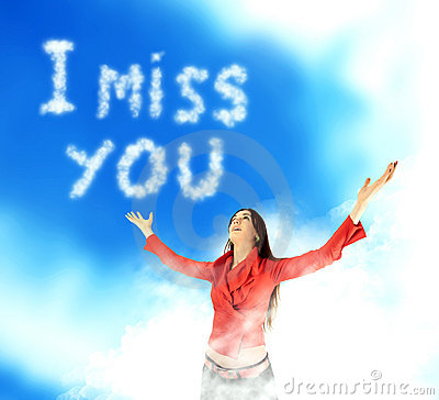I miss you message in sky