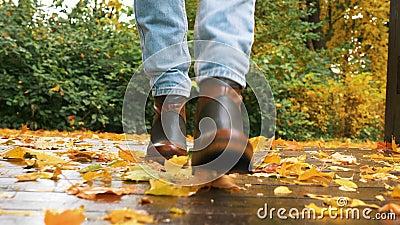 I piedi delle donne si avvicinano camminando sul pavimento di legno bagnato e piene di foglie autunnali gialle stock footage