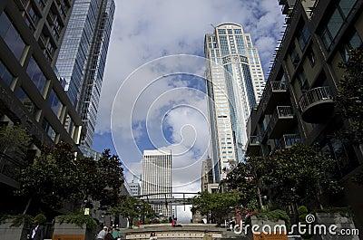 I stadens centrum Seattle Redaktionell Arkivfoto