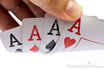 I win. Four aces, on white background